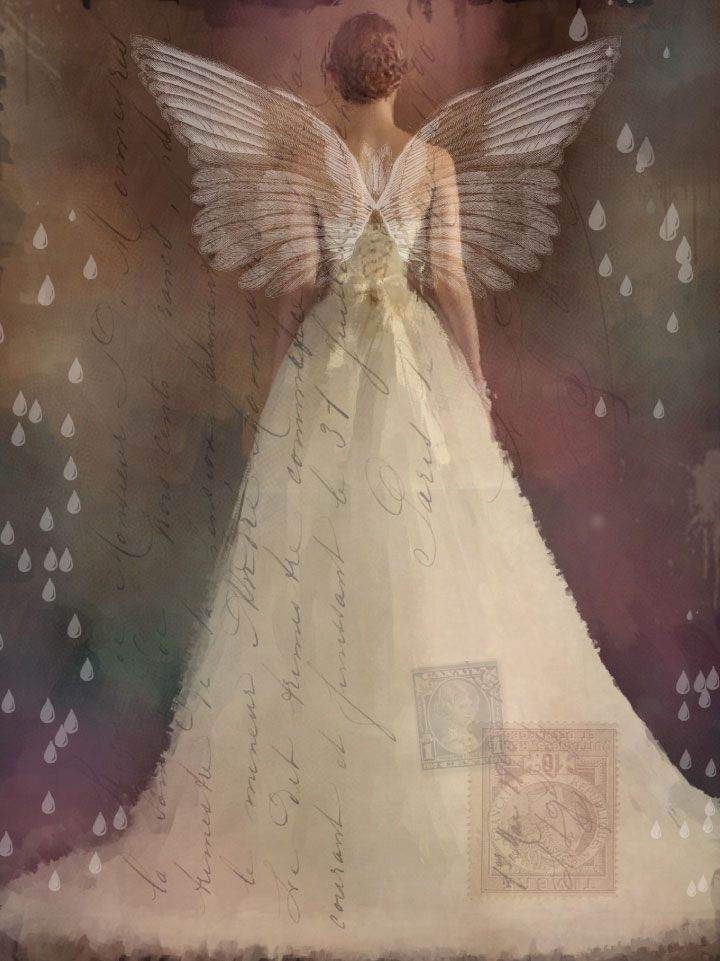 """Inspired by the idea of collaging wings onto the back of a beautiful bride, Ivy Newport created this remarkable piece to depict someone """"carrying a message of hope, faith, and love into her new life while spreading her wings."""" Learn how Ivy blended a vintage postcard image over the top of this stunning creation in Somerset Digital Studio."""