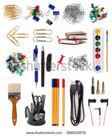Collection of mani objects (office, stationery and electronic items) isolated on white background - stock photo