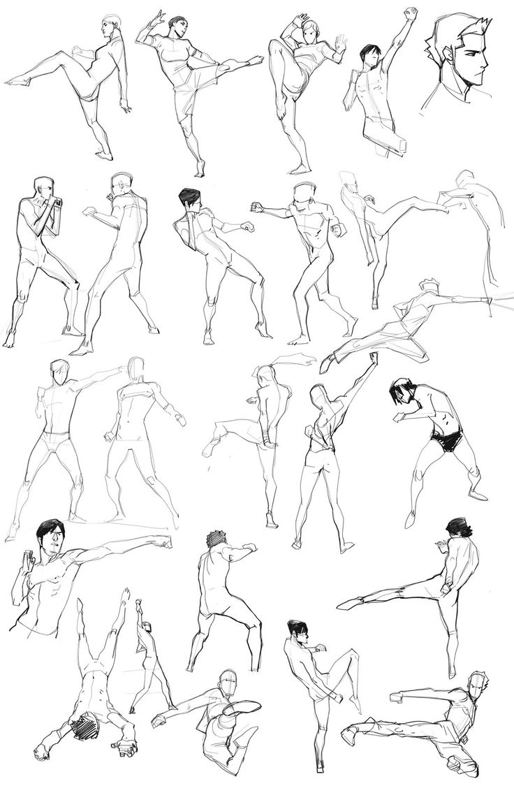 Daily Doodle 02, by blacksataguni on deviantART. >> Action pose/fighting poses reference sheet.