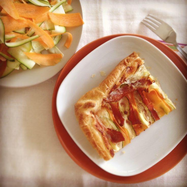 zucchini, carrot and ham pie
