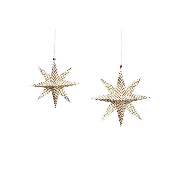 Gold handfolded paper Christmas stars in a set of 2. Item number: 430311 - Designed by Hübsch