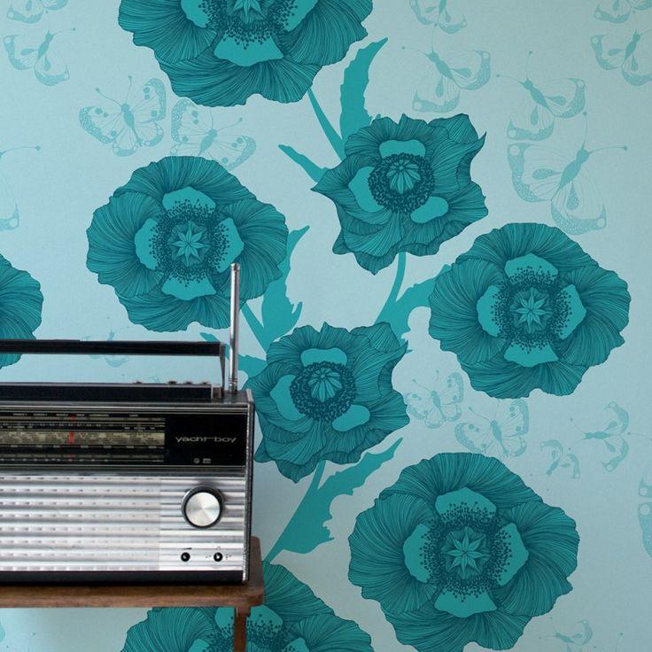Poppy Flower Wallpaper in Turquoise | www.wallpaperantics.com.au