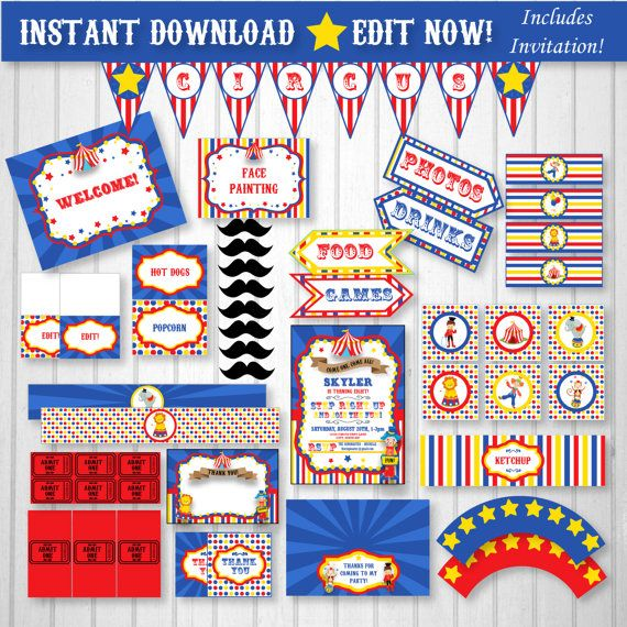 Circus Invitation Circus Party pack Download and by SugarShebang
