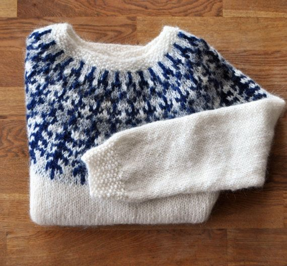 """White darkblue traditional Icelandic sweater """"Lopapeysa"""" with shoulder pattern Adult sweater hand knitted out of pure Icelandic lambs wool."""