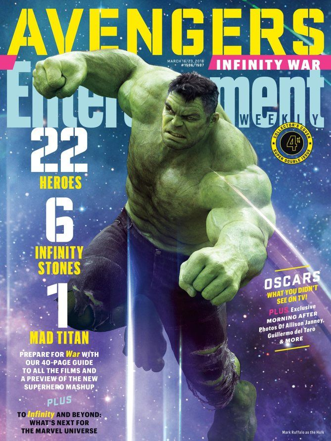 NEW!!! Entertainment Weekly Cover Featuring The Incredible Hulk. Avengers: Infinity War.