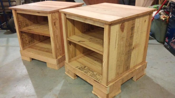 Reclaimed pallet night stand pair