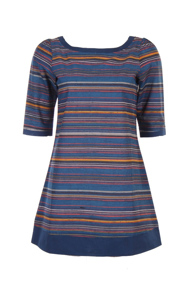 Blue Coloured Round Neck Top; Multicoloured Stripes; Quarter Sleeve; 60'S Cambric; 100% Cotton; 32 Inches Long. #Clothing #Fashion #Style #Kurti #Wear #Colors #Apparel #Semiformal #Print #Casuals #W for #Woman