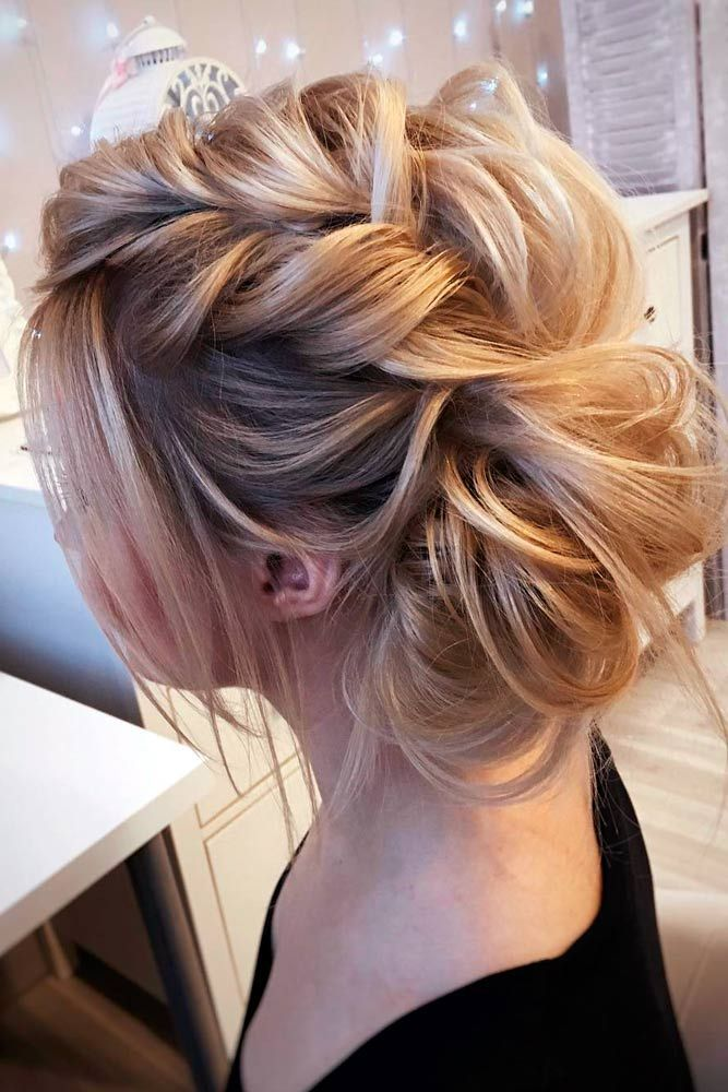 85c527ea7f571178c3aace37941a98ed prom buns braided updo messy - Lovely Medium Length Hairstyles for a Romantic Valentines Day Date ★ See more:...