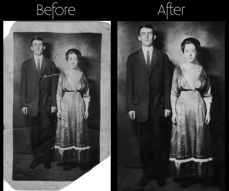 Old photo retouching | old lady and man