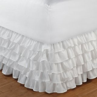 Greenland Home Fashions Cotton-blend Multi-ruffle White 15-inch Drop Bedskirt | Overstock.com Shopping - The Best Deals on Bedskirts