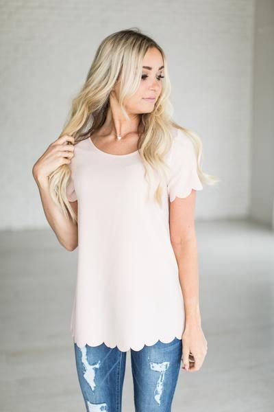 Blush Scallop Top