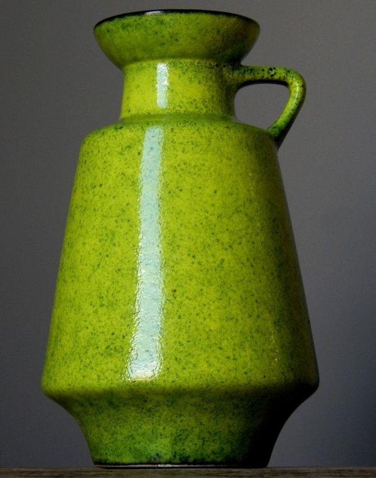 Vintage 60-70' DUMLER&BREIDEN 211/20 Green Vase West German Pottery Fat Lava Era