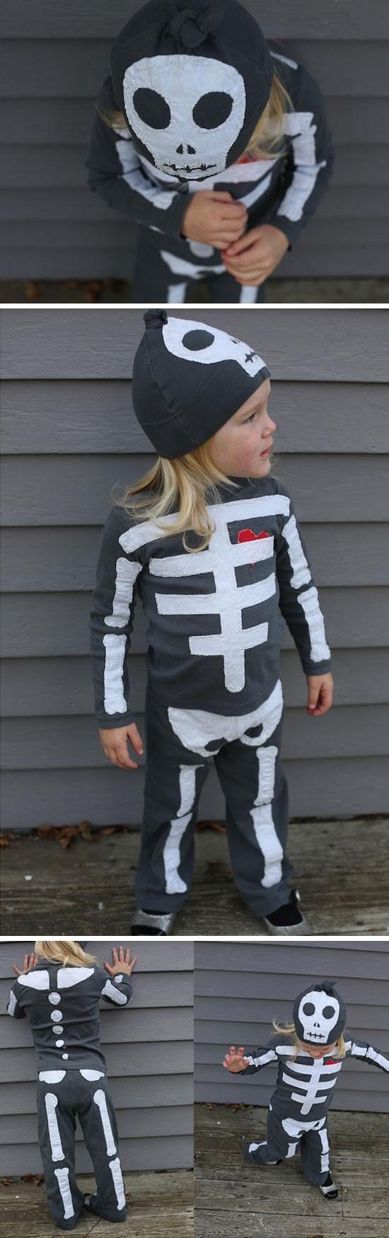 Skeleton Costume   Click for 30 DIY Halloween Costumes for Kids to Make   DIY Halloween Costumes for Toddlers