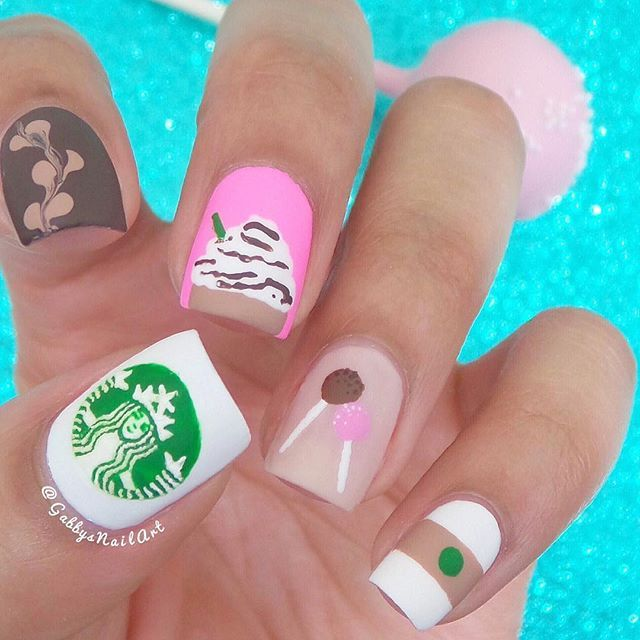 """Starbucks nails because I felt like being basic☕️ I used a toothpick for all details and a full tutorial for this will be up on YouTube tomorrow so make sure you subscribe! (link in bio) Colors used: @salonperfect-""""Sugar Cube"""" @orlynails-""""Out-take"""" @essiepolish-""""picked perfect"""" @opi_products-""""Bubble Bath"""" @kiaraskynails-""""You Make Me Blush"""" She-""""Cocoa Creme""""  Green acrylic paint  And a Revlon matte top coat"""