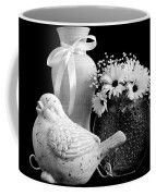 Vase, Bird And Daisies Coffee Mug by Sandra Foster