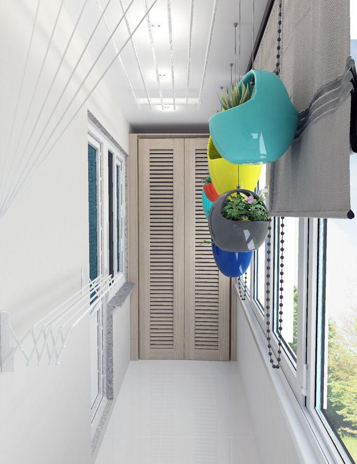 Дизайн-проект белого балкона. Цветочные горшки в форме корзин. Шкаф на балконе.