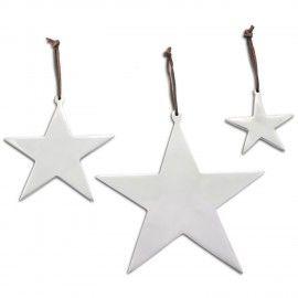 Set of Three Hanging Aluminium Star Christmas Decorations