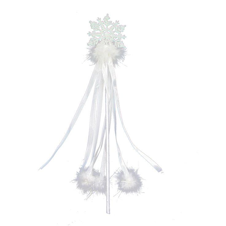 Plastikowa różdżka Śnieżynki z połyskliwymi aplikacjami. Idealny dodatek do stroju na jasełka czy bal karnawałowy.