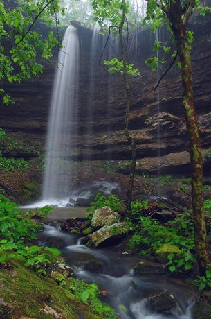 Hammerschmidt Falls in the Ozark mountains near Jasper, Arkansas. Located on an in and out 1.2 mile hiking trail. Best to see in the rainy seasons like spring and fall - Dogs allowed on leash.
