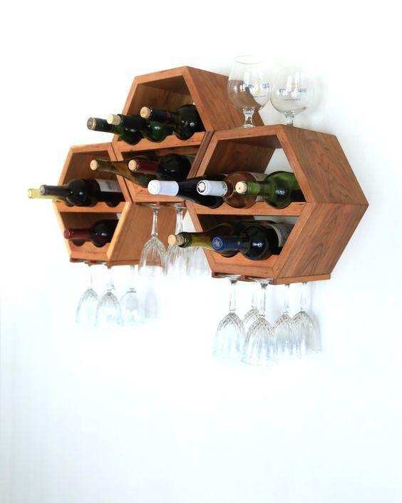 Honeycomb Wine Rack - MidCentury Modern Decor - Hexagon Wine Racks - Modular Wine Storage - Wine Lovers - Unique Kitchen Wall Art