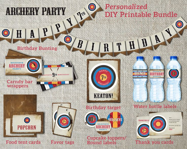 Archery Birthday Party Bundle. Customizable wording and colors. DIY archery party printable package. Unique year-round birthday party idea. Check out your local indoor or outdoor archery ranges for party possibilities.