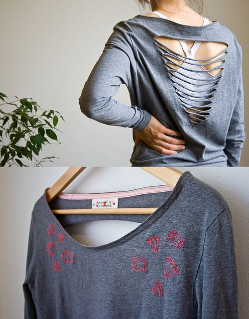 up-cycled man's tshirt - embroidered front, cutout back