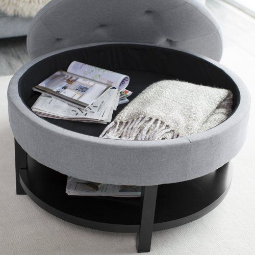 belham living coffee table storage ottoman with shelf gray. - Pintucked Coffee Table. Enchanting Coffee Table For Home Coffee