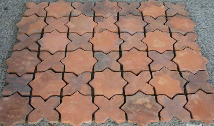 100 Handmade Terracotta Floor Tiles Star Amp Cross Design