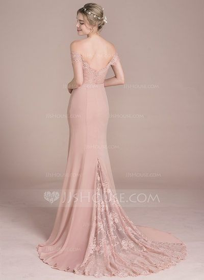 [US$ 137.49] Trumpet/Mermaid Off-the-Shoulder Court Train Chiffon Lace Prom Dress With Beading Sequins