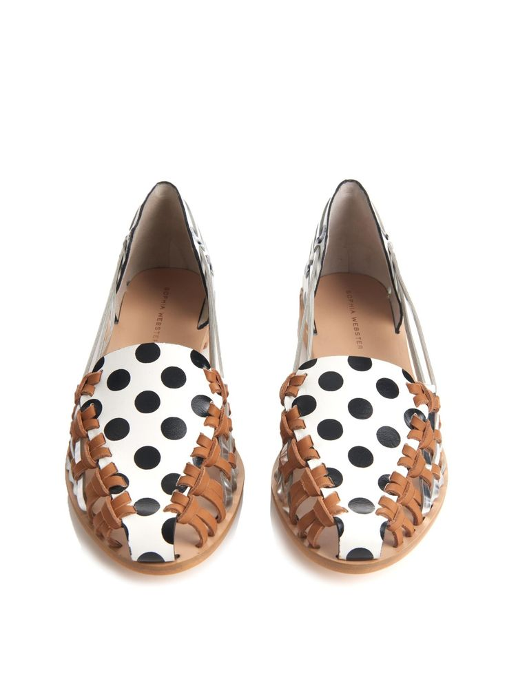 Phoenix polka-dot print leather flats | Sophia Webster | MATCHESFASHION.COM UK