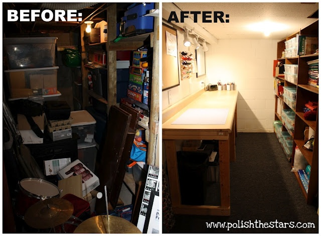 The Before And After Pictures Of A Basement Storage Space Converted Into A  Functional Craft Room