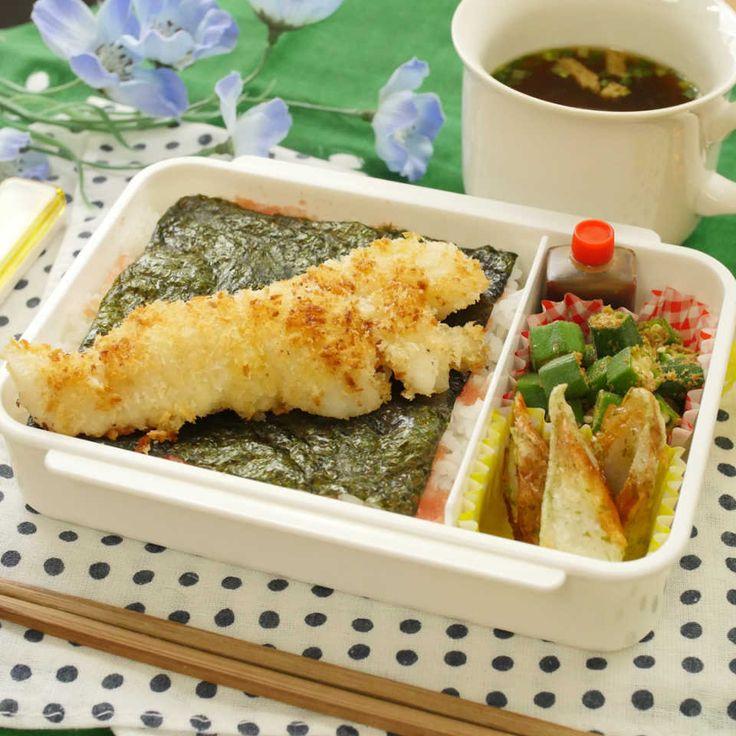 【ねぼすけ弁当】3品15分!揚げない白身魚フライのDX明太のり弁当 - macaroni
