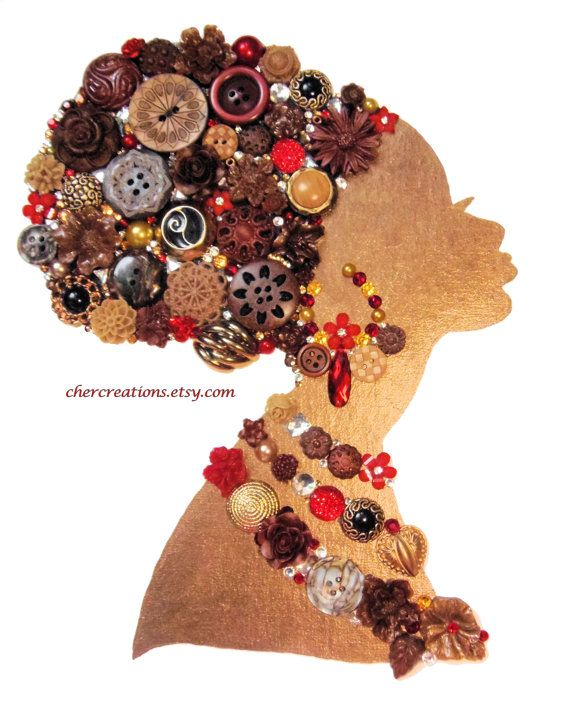 African lady 16 8x10 button art white canvas button for How to make african jewelry crafts