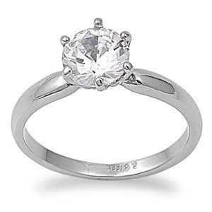 Stainless Steel Engagement Promise Ring with Round Cut Clear CZ