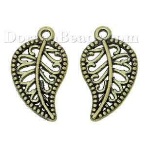 Worldwide Free Shipping Zinc Metal Alloy Charm Pendants Leaf Antique Bronze Hollow Carved 18mm(6/8) x 11mm(3/8), 50 PCs [B61909] at incredible low price– DoreenBeads.com