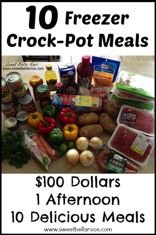 10 Crock Pot Freezer Meal Plans by Sweet Bella Roos PLUS over 160 Crock Pot and Slow Cooker recipes!!!
