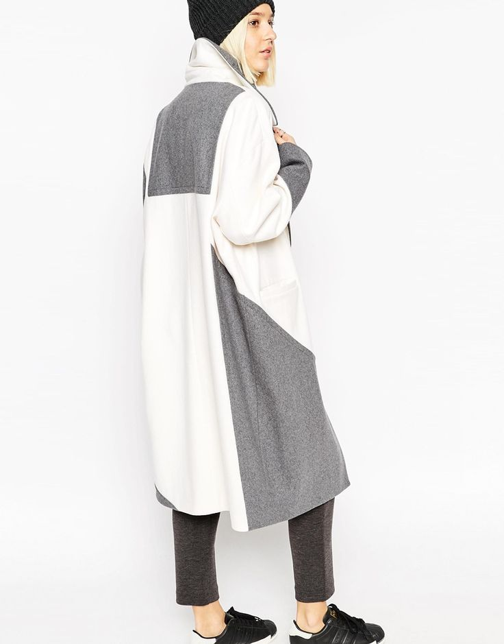 Image 1 of ASOS WHITE Colour Block Ovoid Coat in Heavy Wool