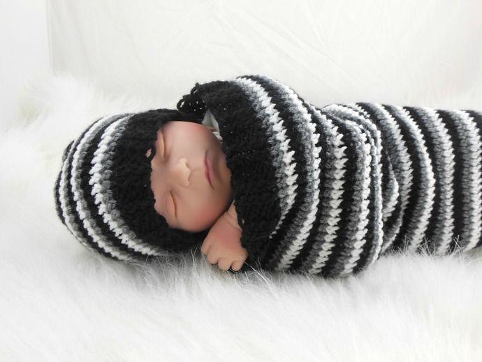 Cocoon, Sleep Sack, Sleep Bag, Wrap, Blanket in Stripes Black, Gray,