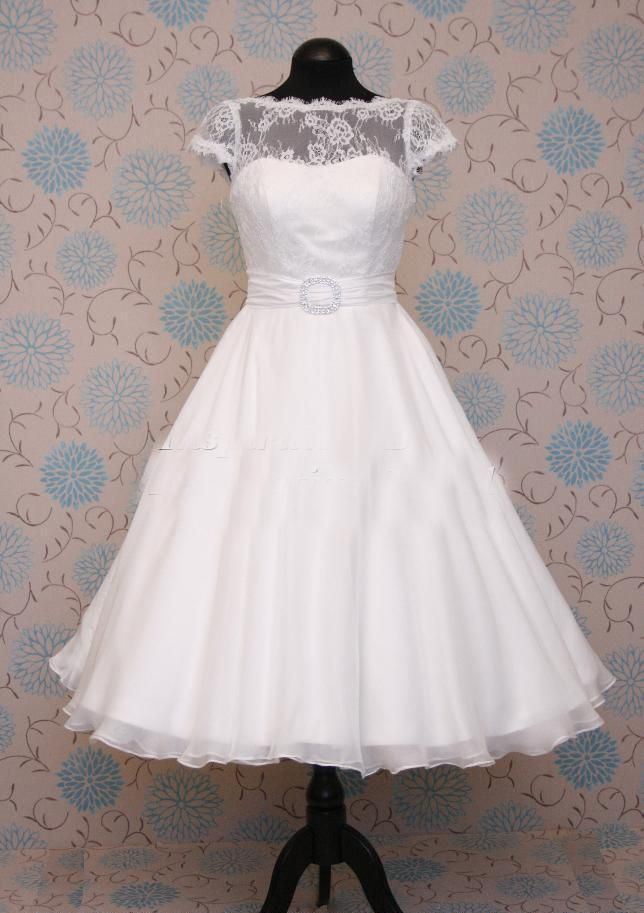 Wholesale wedding dress 2013 buy a line cap sleeves crew for Cheap wedding dresses tea length