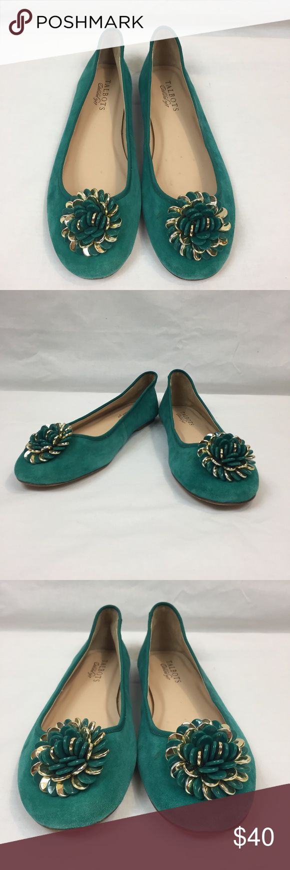 Tabolts DK French Teal Flats with Flower Details Adorable Teal Leather soled flats with beaded flowers. NWT with small imperfection on fabric of one shoe and the interior of the other. Pictures of measurements will be added soon. Talbots Shoes Flats & Loafers