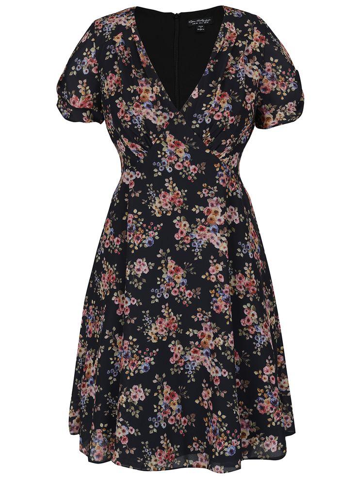 Čierne šaty s kvetinovým vzorom Miss Selfridge