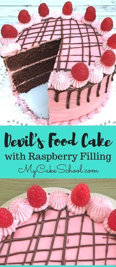 AMAZING Devil's Food Cake recipe with Raspberry Filling #chocolate #cake #cakerecipes #devilsfoodcake