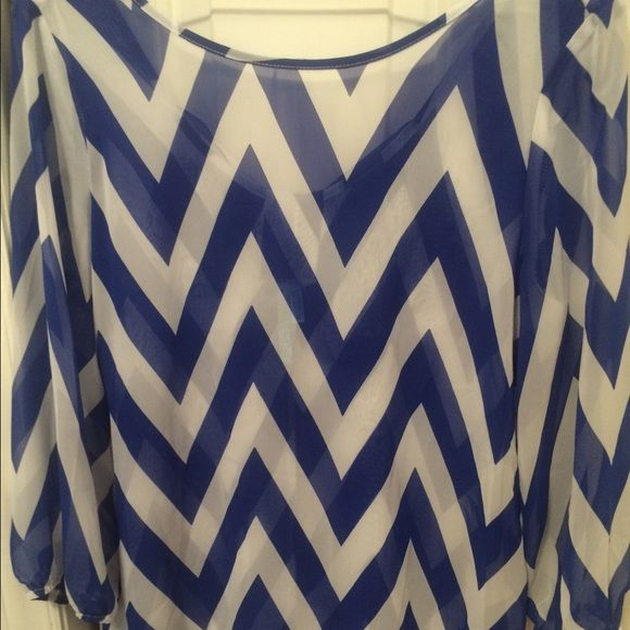 Preppy Chevron Top The back is made into a bow and sleeves stop midway. If you don't like the price comment to negotiate. Tops Blouses