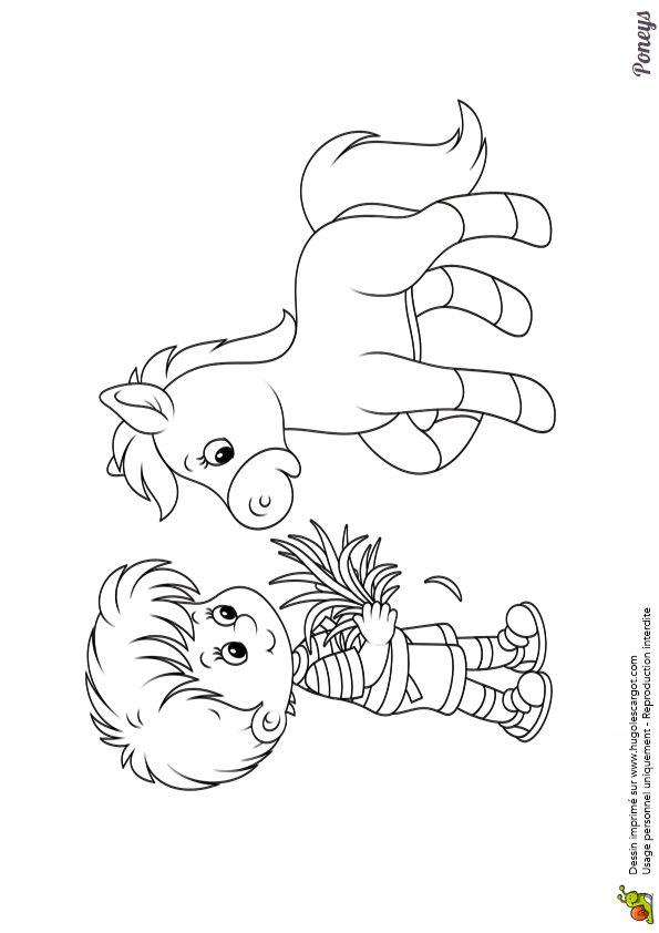 Dessin colorier d un petit gar on entrain de nourrir son - Coloriage d un enfant ...