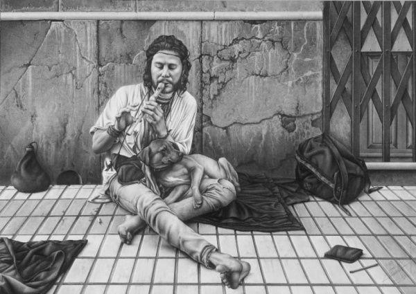 """""""Bardo Urbano"""" (1996)  Carboncillo, lápiz   compuesto. Autor: Joaquín Morales. La elección de esta obra  viene dada por su impecable perfección ante los detalles, además de plasmar una realidad invisible para muchas personas."""