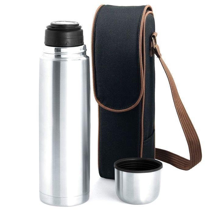 Picnic Time Kona Express Coffee Duffel Bag - Vacuum Flask in Black/Brown Trim
