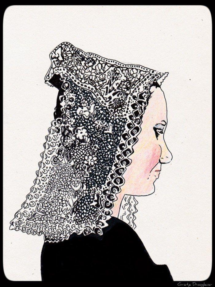 Tekening van meisje uit Bretagne met kanten mutsje. Drawing in ink of a girl from Brittany. (artisinale)