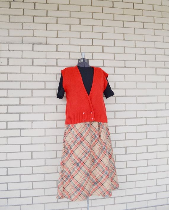 70s red cardigan sweater vest Melville Knitwear