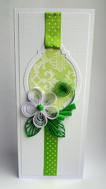 handmade quilling card ... tall and narrow format ... white and chartreuse ... sweet quilled flower ... delightful!!