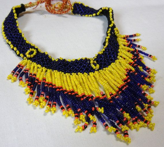 Blue and yellow perfect choker necklace Fashion by KrutisKreations